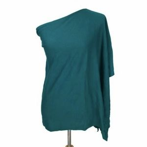 NEW Talbots XS/S Poncho Turquoise One Shoulder Top